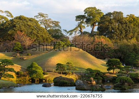 Suizenji Park. Kumamoto. Japan. It was built by the Hosokawa family in the 17th century. - stock photo