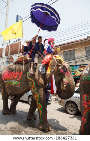 SUKHOTHAI - APRIL 7 : Songkran Festival and Hadxiao Elephant Ordains at Si Satchanalai from April 7 to 8, Riding on elephant and Thai Puan elephant ordination on April 7, 2014 in Sukhothai.