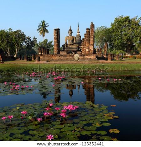 Sukhothai Historical Park, former capital city of Thailand - stock photo