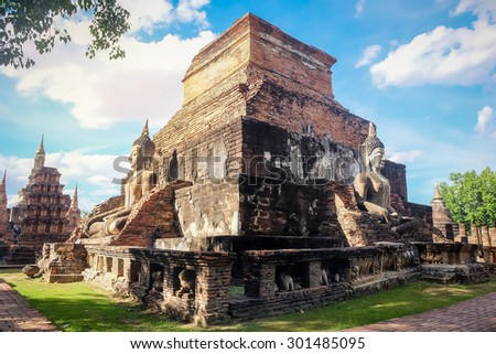Sukhothai historical park, Mahathat Temple ,Thailand. - stock photo