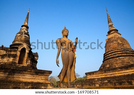 Sukhothai historical park, the old town of Thailand in 800 year ago - stock photo