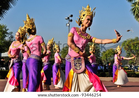 SUKHOTHAI,THAILAND-JAN 17:Unidentified female dancers perform at the Classical Thai Dance with Orchestra play on The King Ramkhamhaeng the Great Day,On Jan17,2011 in Sukhothai Historical Park.Thailand