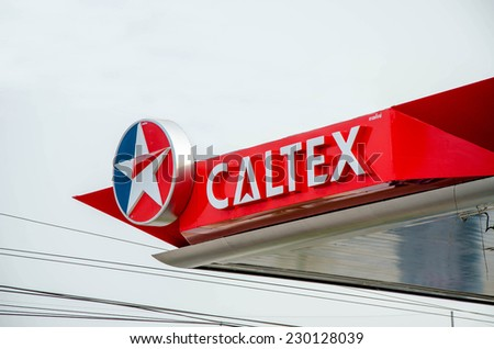 Sukhothai,THAILAND - March 30: Caltex Oil station on March 30,2013 in Sukhothai province, Thailand. Ready to service 24 hour.
