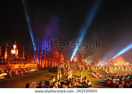 SUKHOTHAI,THAILAND - NOVEMBER 21, 2015 : Light and sound show on Loy Kratong festival at Sukhothai Historical Park on November 21 ,2015.