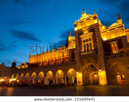Sukiennice (Cloth Hall) on Main Square in Krakow by night - stock photo
