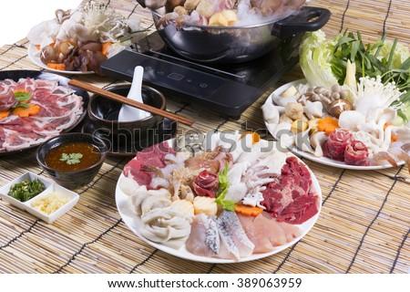 Sukiyaki Fresh Beef pork slices,fish , Japanese Food  - stock photo