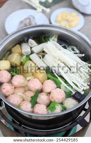 Sukiyaki on the pot - stock photo