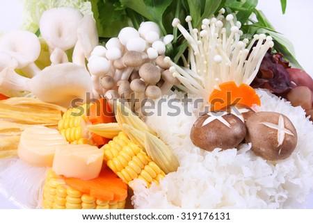 Sukiyaki,vegetable set. - stock photo