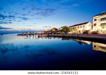 Sukosan waterfront calm sea evening view in Dalmatia, Croatia - stock photo