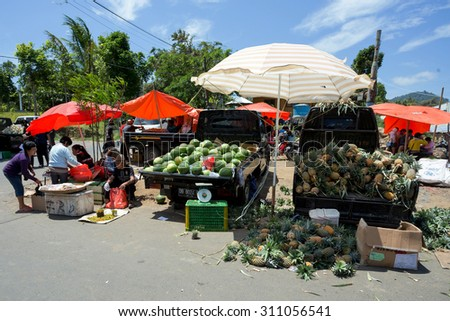 SULAWESI, INDONESIA - AUGUST 8.2015:, Traditional Marketplace with local fruit in Tomohon City, Sulawesi,August 8. 2015 Sulawesi, Indonesia.