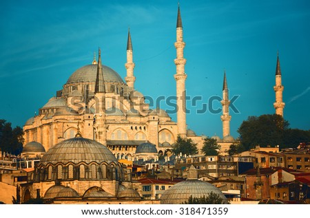 Suleymaniye Mosque lit with the sun on a sunset Istanbul, Turkey - stock photo