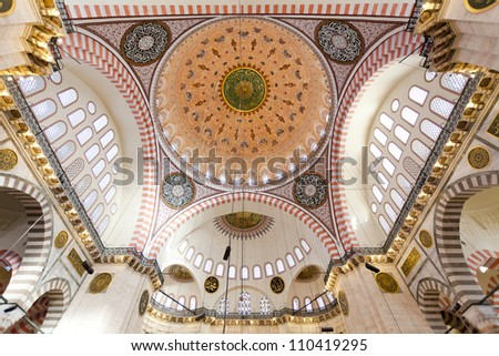 Suleymaniye Mosque (Ottoman imperial mosque)  interior ceiling - stock photo