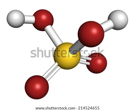 Sulfur acid molecule. Strong mineral acid. Used as electrolyte in lead-acid car batteries and in production of fertilizer. Atoms are represented as spheres with conventional color coding. - stock photo