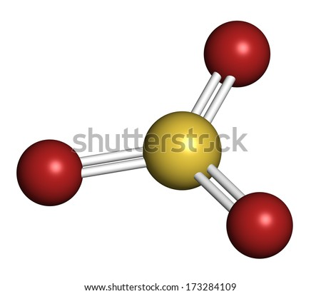 Sulfur trioxide pollutant molecule. Principal agent in acid rain. Atoms are represented as spheres with conventional color coding: sulfur (yellow), oxygen (red). - stock photo