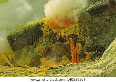 Sulfurous fumaroles in Ijen crater. Java. Indonesia - stock photo