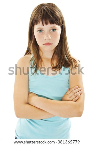 Sulky angry young girl child, sulking and pouting. Isolated on white background  - stock photo