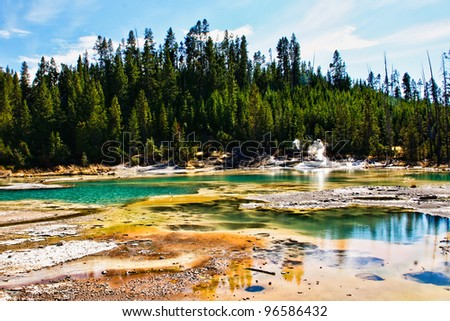 Sulpher Pools in Yellowstone National Park - stock photo