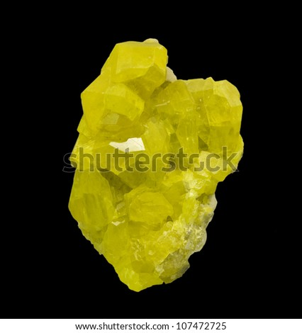 Sulphur crystals isolated on black. Museum piece. - stock photo