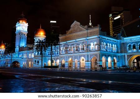 Sultan Abdul Samad Building a night in Kuala Lumpur - stock photo