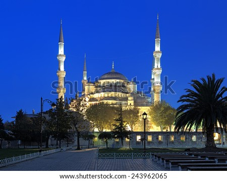 Sultan Ahmed Mosque (Blue Mosque) in early morning, Istanbul, Turkey - stock photo