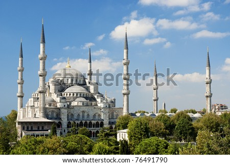 sultan ahmed mosque exterior in istanbul turkey - stock photo
