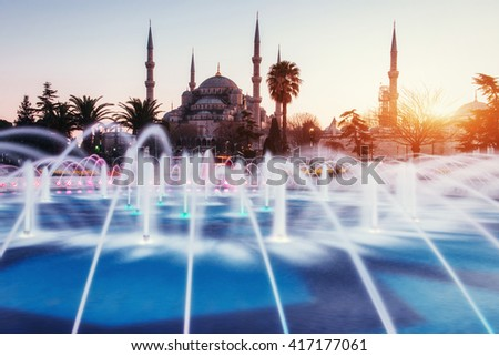 Sultan Ahmed Mosque Illuminated (Blue Mosque), Istanbul, Turkey - stock photo