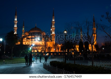Sultan Ahmed Mosque in Istanbul against the blue sky - stock photo