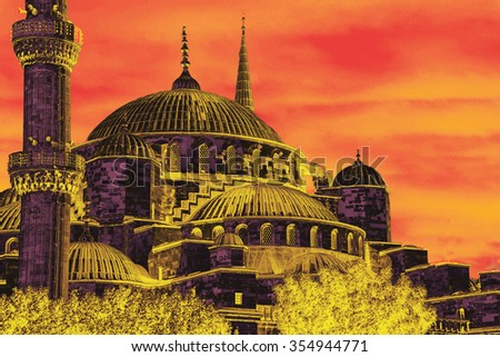 Sultan Ahmet Camii ( Blue Mosque ) in the morning  Sultan Ahmet Camii ( Blue Mosque ) in Istanbul, Turkey - stock photo