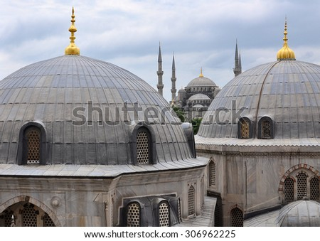 Sultan Ahmet Mosque or Blue Mosque seen from Hagia Sophia (Ayasofya) window, Istanbul, Turkey - stock photo
