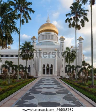 Sultan Omar Ali Saifuddin Mosque  in Bandar Seri Begawan - Brunei - stock photo