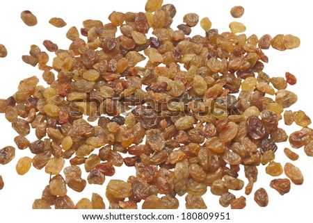 sultana raisins isolated on a white - stock photo