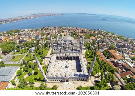 Sultanahmet Camii most famous as Blue Mosque in Istanbul, Turkey, Aerial - stock photo