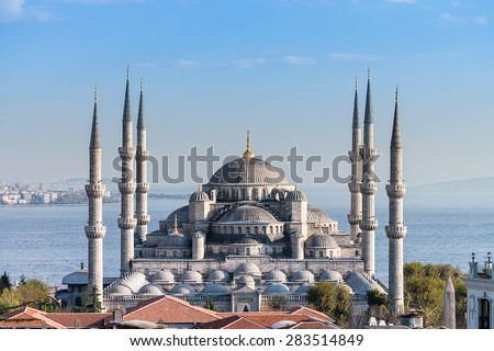 Sultanahmet Mosque (Blue mosque) with blue sky and sea, Istanbul, Turkey - stock photo