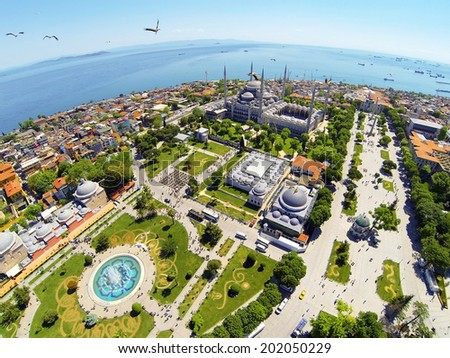 Sultanahmet Square and Blue Mosque - stock photo