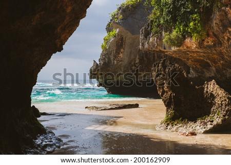 Suluban beach, Bali, Indonesia - stock photo