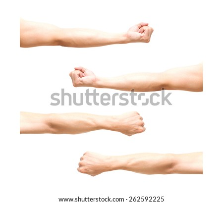 sum 4 pic of Arm in fist action on white background - stock photo