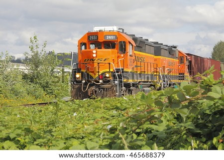SUMAS - AUGUST 7, 2016: A BNSF rail train in Sumas, British Columbia, Canada on August 7, 2016 transporting freight to Washington State in the United States.