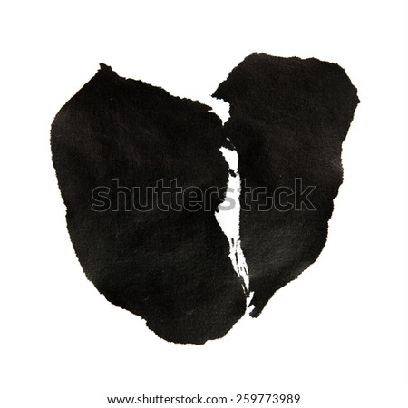 sumie (asian ink )style broken heart, isolated on white.  - stock photo