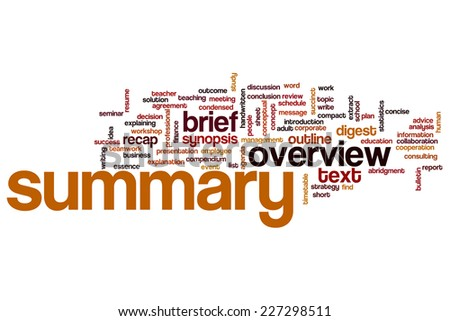 Summary word cloud concept - stock photo