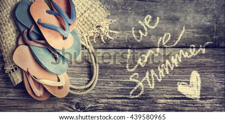 Summer accessories closeup on wooden background/ summer holidays background/family summer holidays background - stock photo