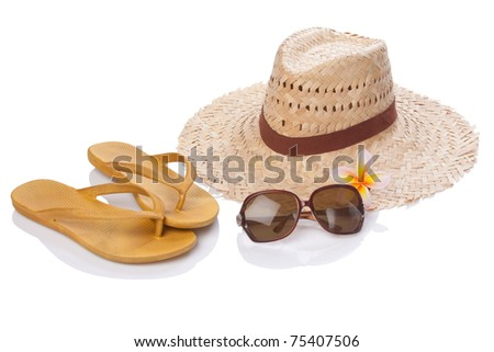 summer accessories on white with clipping paths - stock photo