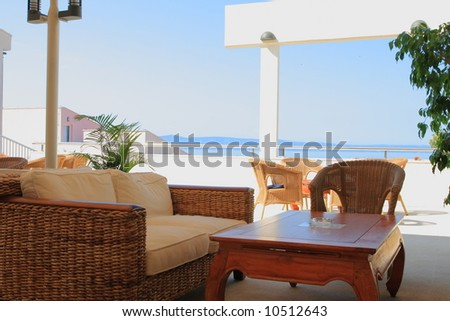 Summer afternoon in the mediterranean hotel - stock photo