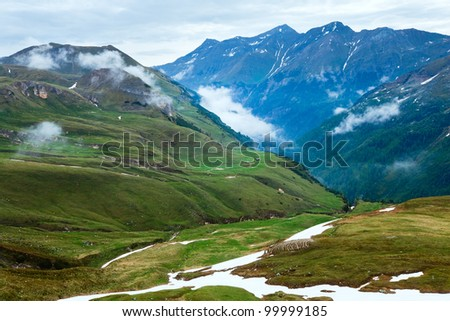 Summer Alps mountain (view from Grossglockner High Alpine Road) - stock photo