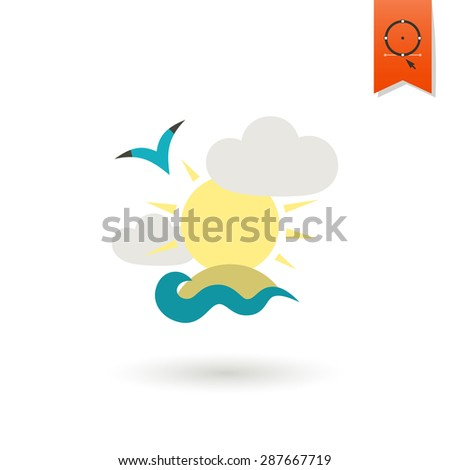 Summer and Beach Simple Flat Icon, Travel and Vacation.  - stock photo
