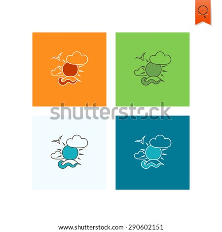 Summer and Beach Simple Flat Icons.  - stock photo