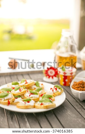 Summer appetizer finger food on picnic table, feta cheese, pepper and basil sandwiches on a baguette - stock photo