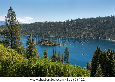 Summer at Emerald Bay. The bay is part of Lake Tahoe, California, USA. It was created by a glacier during the last Ice Age. - stock photo