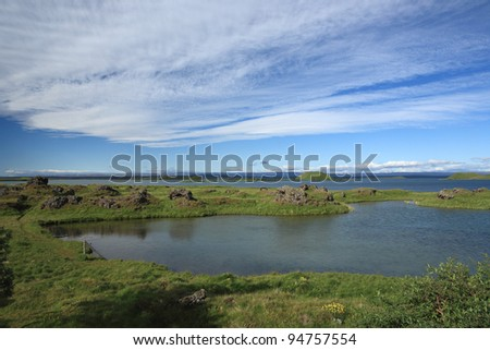 Summer at Myvatn Lake in northern Iceland - stock photo