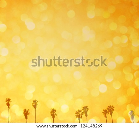 summer background of defocused lights and palm trees - stock photo