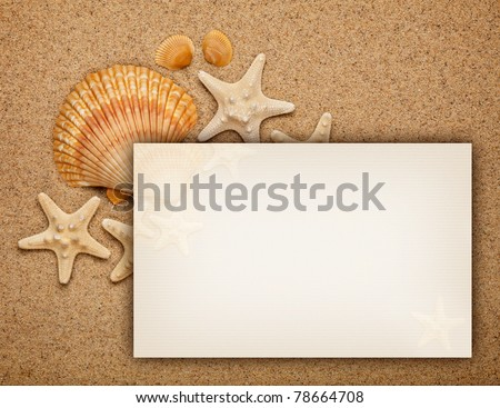 Summer background - shells on sand and blank card